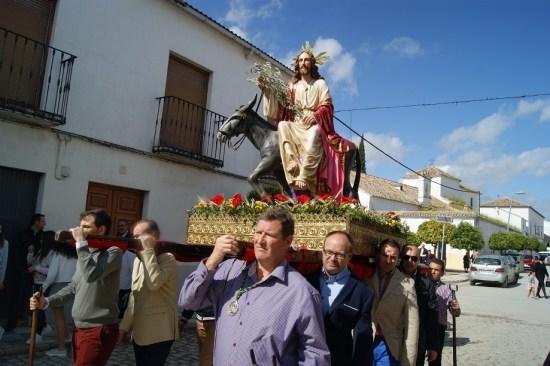 Una imagen de la procesión de la Borriquita, en Lopera.