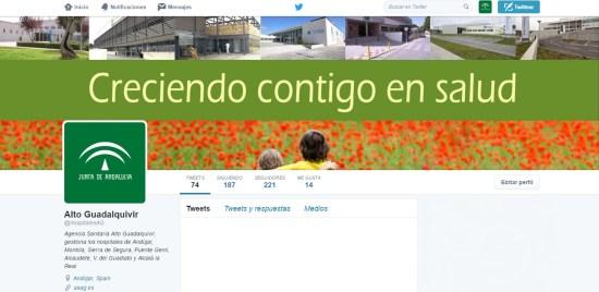 Cabecera de la Agencia Sanitaria Alto Guadalquivir en Twitter.