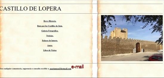 Imagen de esta página web sobre el Castillo de Lopera.