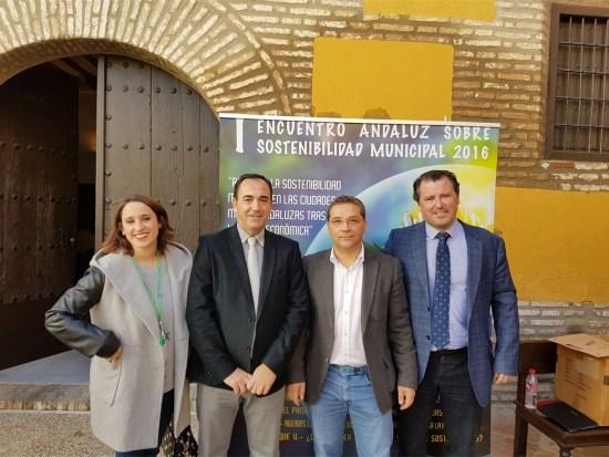Candela Fuentes, Antonio de la Torre, Paco Huertas y Pedro Bruno, en la inauguración de este encuentro.
