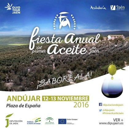 Cartel promocional de la III Fiesta Anual del Primer Aceite de Jaén.