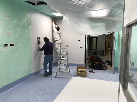 Actuales obras de reforma en la primera planta del Hospital Médico-Quirúgico, de Jaén.