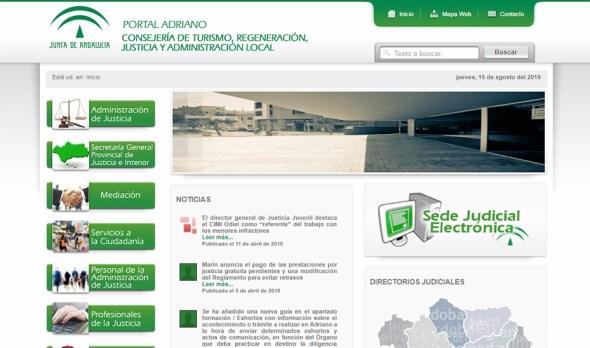 Web judicial de la Junta de Andalucía