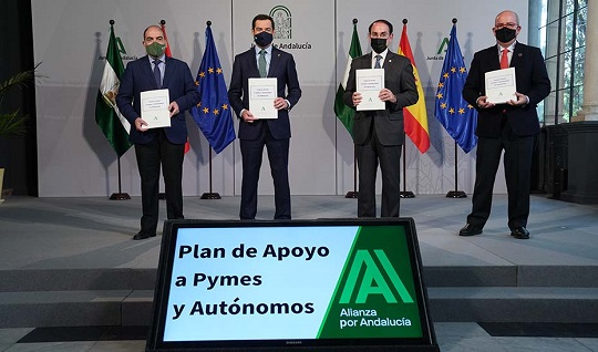 El Gobierno andaluz amplía hasta los 667 millones de euros el Plan de Apoyo firmado con Pymes y Autónomos.