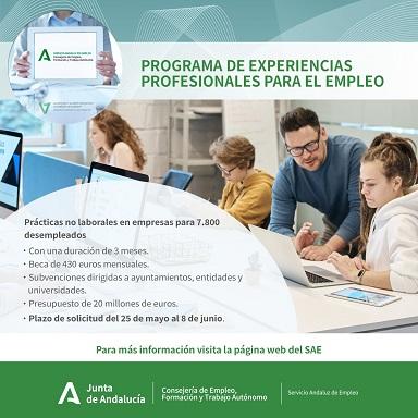 Empleo pone en marcha un programa que facilitará prácticas profesionales no laborales en empresas a cerca de 600 desempleados en Jaén.