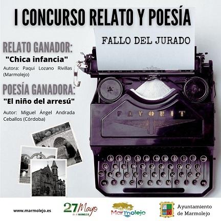 """Paqui Lozano y Miguel Ángel Andrada ganan el I Concurso de Relato y Poesía """"27 de mayo, Día de Marmolejo""""."""