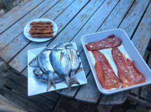 Grill-time with fish, meat and something special on the spit