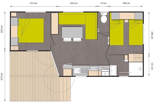 Mobilhome 2 chambres Grenache, plan