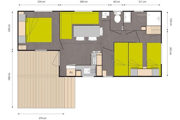 Mobilhome 3 chambres Picpoul - plan