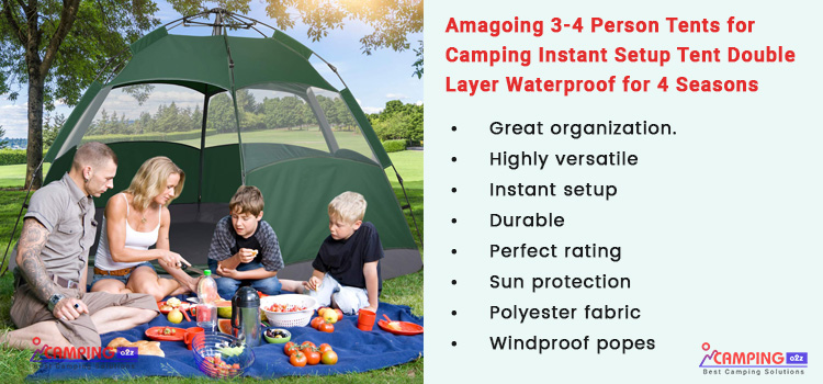 Easy Setup Tent with Porch Double Layer (Outdoor Camping tent family tent) KAZOO Outdoor Camping Tent Durable Waterproof Family Roomy tents 4 person