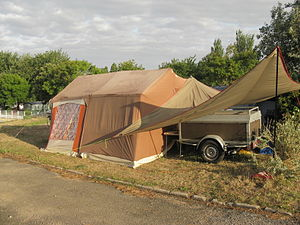 Tent and trailer at Saint-Marc-sur-Mer camping...