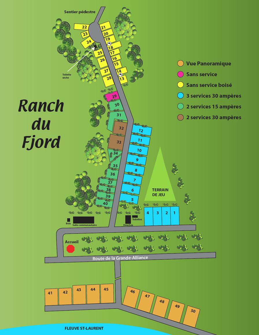 Plan du camping - Camping et ranch du fjord