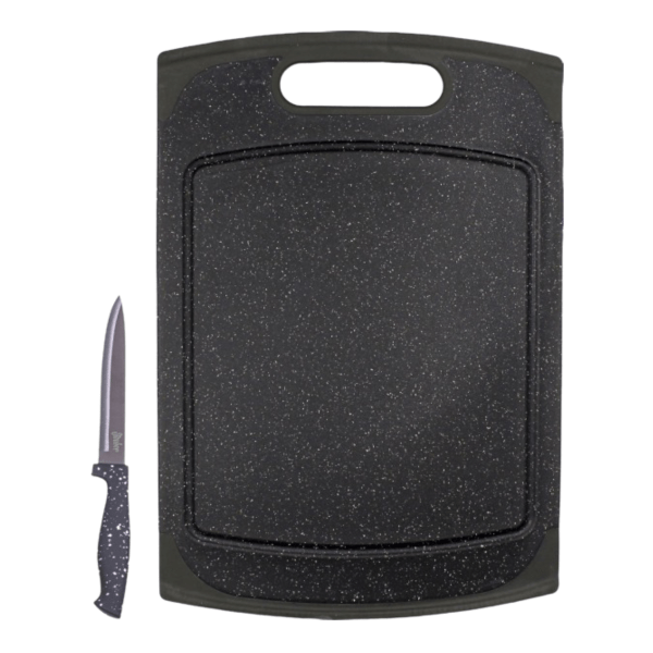Schneidebrett Granit 29x20 cm inkl. Messer - Steuber