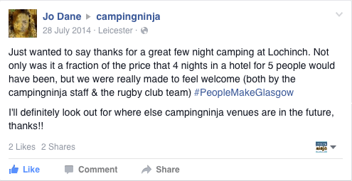 Glasgow 2014 Campingninja Lochinch Facebook Review