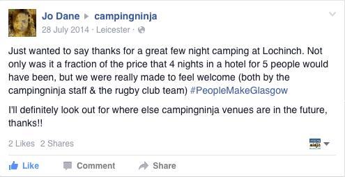 Glasgow 2014 Campingninja Lochinch Facebook Review