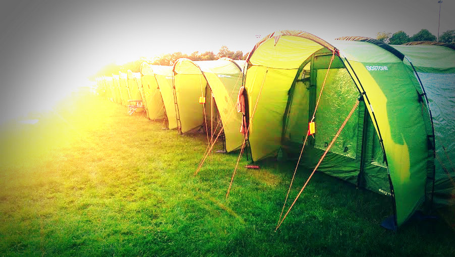 One of our Pre-pitched Temporary Accommodation Villages