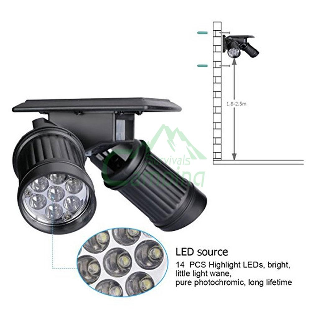 Outdoor 14 LED Solar Powered Dual Head Motion Sensor