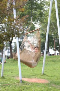 Outdoor Hanging Swing Cotton Rope Hammock Chair Seat Porch ...