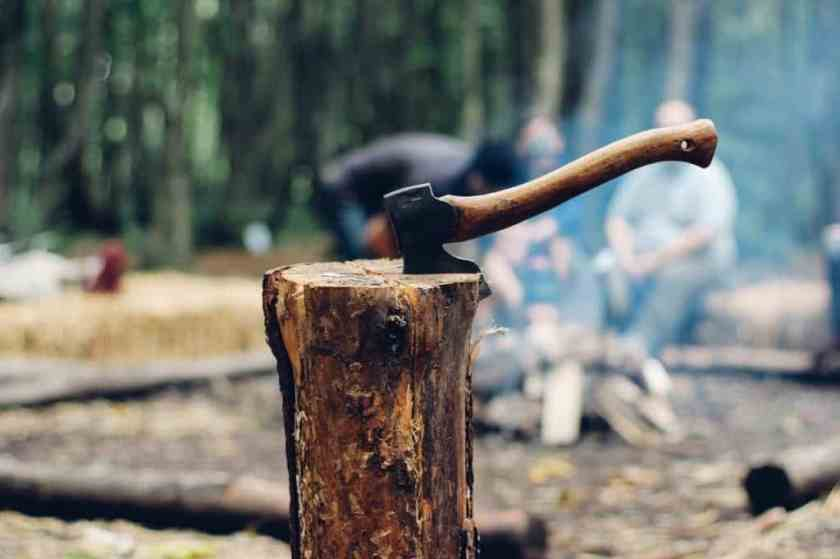 chopping wood with axe