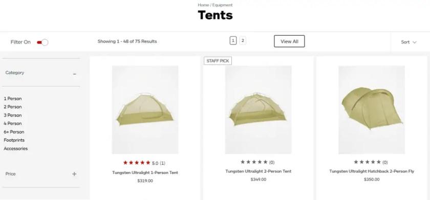 screenshot from marmot website