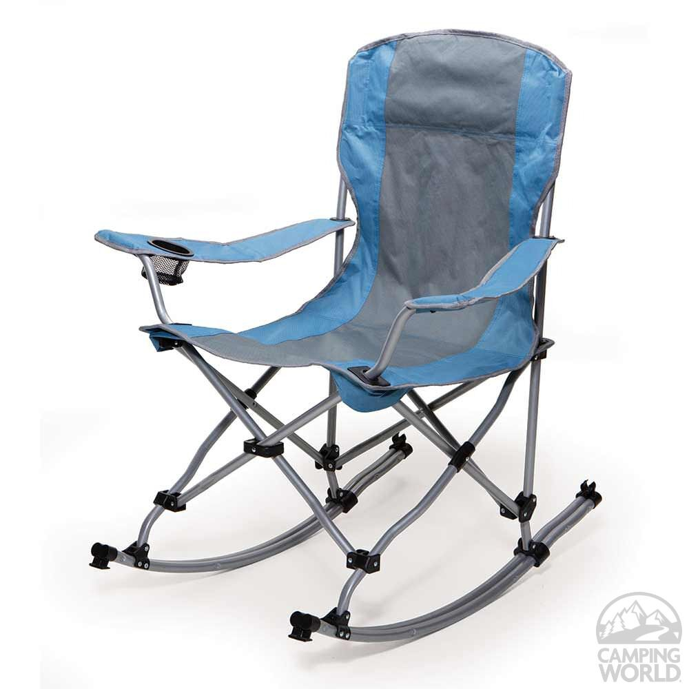 Camping Rocking Chair Rocking Bag Chair Blue And Gray