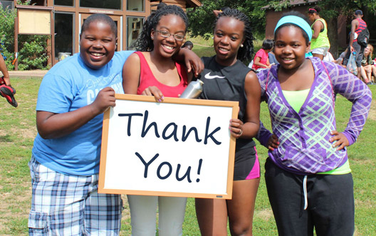 Here's a virtual thank you note from teens at Wyman Teen Leadership Program one of 13 camps that received tuition scholarship support from the Camp Nebagamon Scholarship Fund last summer.