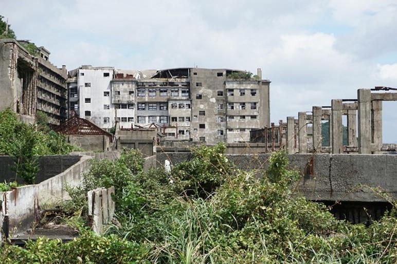 Blocos de apartamento e prédios da administração foram tomados pelo mato (Foto: Wikicommons/Reprodução)