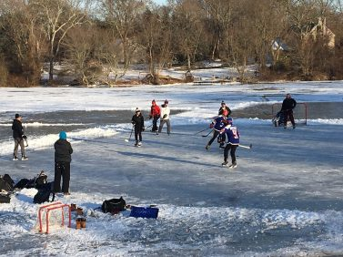 ice hockey players on Kaler's Pond