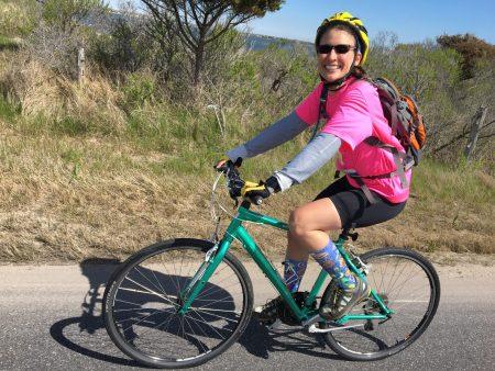 Alyssa Pecorino riding a bike