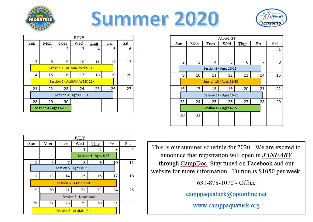 calendar of summer program