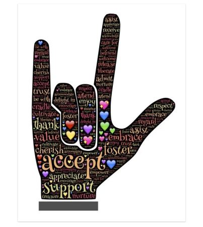 I love you handshape in American Sign Language filled with positive words