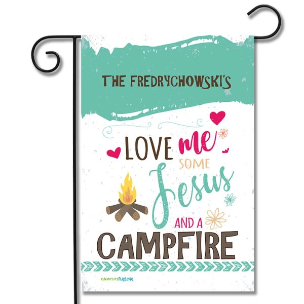 Personalized RV Camping Flag Love Me Some Jesus And A Campfire