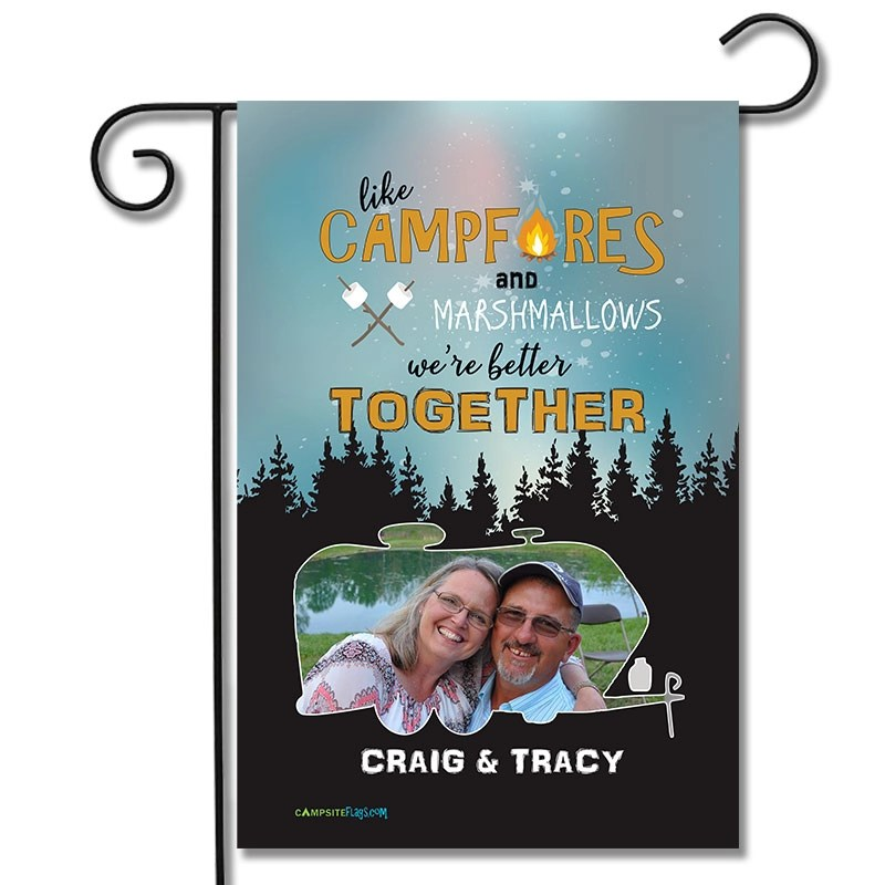 Personalized RV Camping Photo Flag Like Marshmallows and Campfires We Go Better Together Travel Trailer