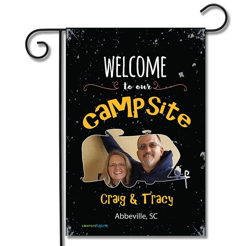 Personalized RV Camping Photo Flag Welcome To Our Campsite Travel Trailer
