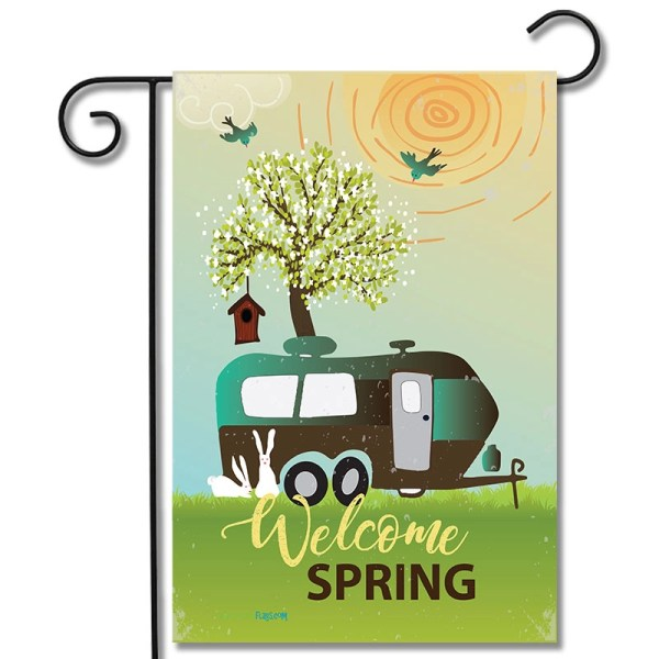 Garden Flag Welcome Spring Travel Trailer