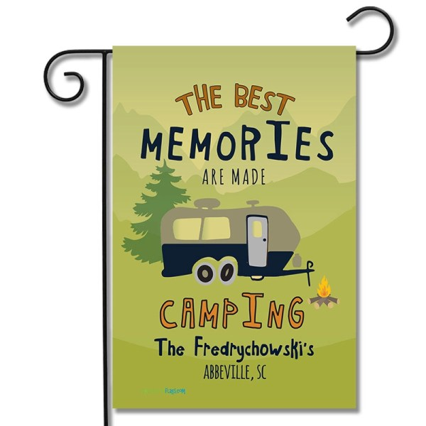 "Personalized RV Camping Flag ""The Best Memories Are Made Camping"" Travel Trailer"