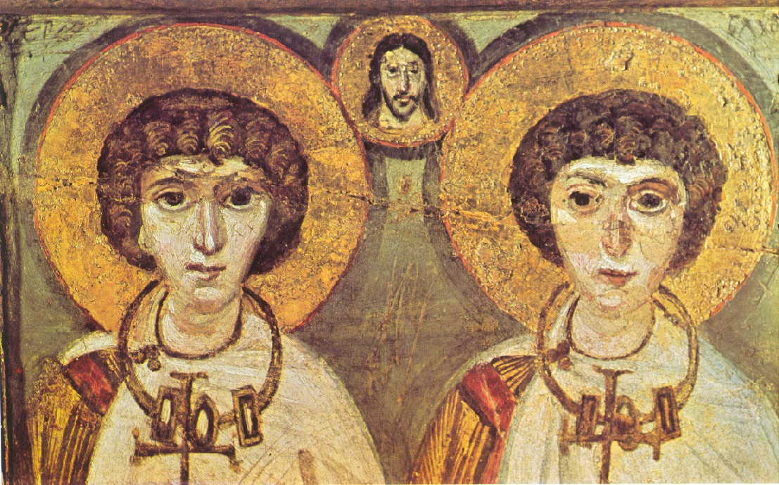 Icon from St Catherines Sinai of Saints Sergius and Bacchus, fifth-century martyrs, used by John Boswell as the cover image for his Same-Sex Unions in Pre-Modern Europe
