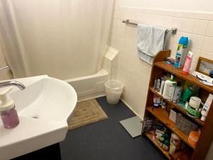 A bathroom with a sink and a bathtub