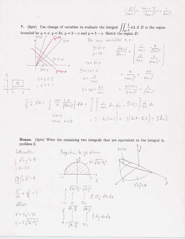 Calculus 3 Scores and Solutions