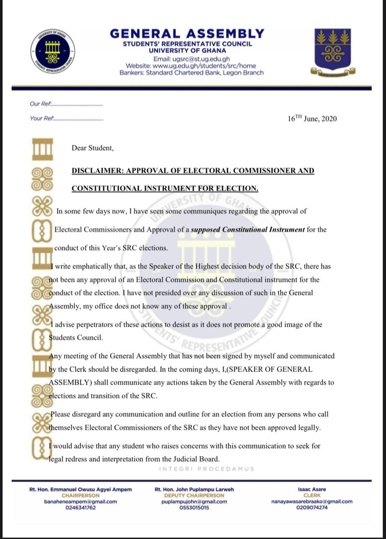 UG General Assembly Disagrees With EC Conducting SRC Election Online