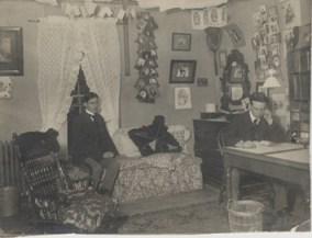 Two male students in dorm at Owen Hall, 1900, via MSU Archives and Historical Records