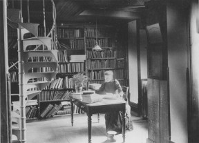 Linda Landon in the Linton Hall Library, via MSU Archives and Historical Records