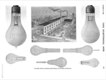 Shelby Electric Co. building and bulbs