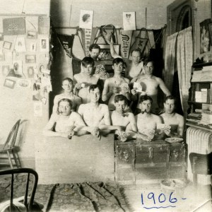 Students smoking and drinking in dorm c. 1906 - Image courtesy of MSU Archives