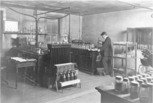 Student working in Chemistry Lab 1897 - image courtesy of MSU Archives