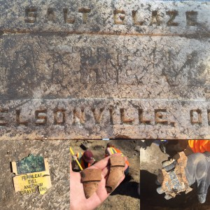 Artifacts including a salt glazed brick, plant tag, flower pot fragment, and snickers wrapper.