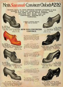 1912 Sears Catalog ad for men's dress shoes. Note the bows and high heel. Image Source