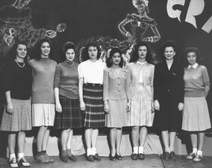 1943 Mardi Gras ball queen and court. Image courtesy of MSU Archives & Historical Collections