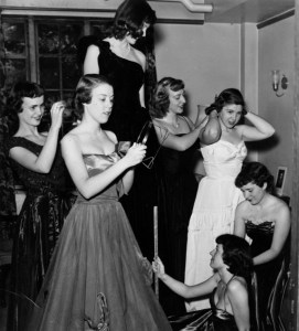 1950 female students getting ready for dance. Image courtesy of MSU Archives & Historical Collections