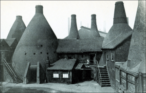 Original bottle kilns at Wedgwood Etruria workshop in England circa 1952